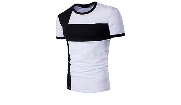 Camiseta para Hombre,RETUROM Los Hombres de la Personalidad de Moda de Manga Larga Remiendo Delgado Camiseta de Manga Corta Blusa: Amazon.es: Ropa y ...
