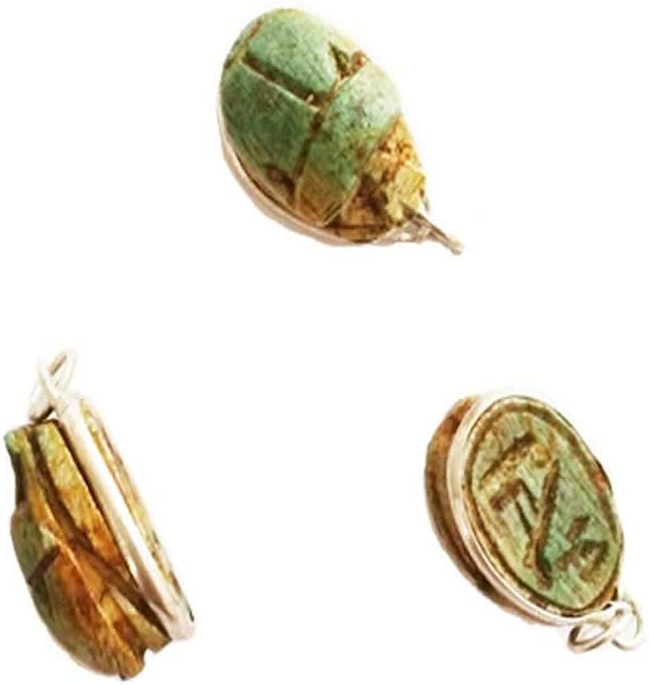 Réplica Escarabajo de la Suerte 3 Colgantes de Piedra caliza engarzados con Plata, Amuleto Desde el Antiguo Egipto 1,5 cm x 1 cm Cada uno