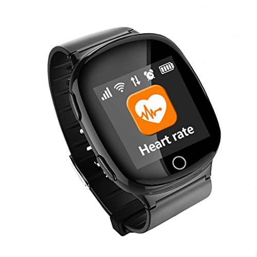 Elderly Heart rate monitor Smart Watch,AMTERBEST GPS PositioningMedicine Reminder, Sports Reminder,Sedentary Reminder,Health,SOS GPS LBS WIFI Tracker Watches Compatible with Android and iPhone(Black)