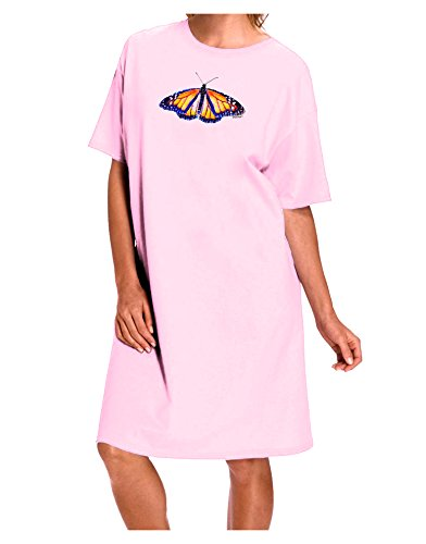 TooLoud Watercolor Monarch Butterfly Adult Night Shirt Dress - Pink - One Size ()