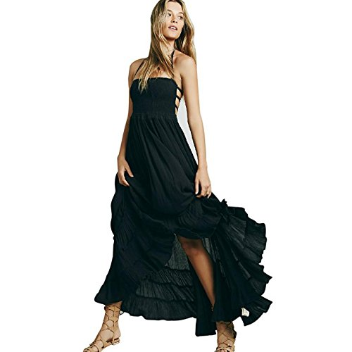 Aster Moon Shop Evening Party Cotton Halter Black White Dress Sleeveless Backless Strappy Tunic Evening Gown Long Dresses, (Color - White, ...