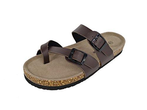 Cork Footbed Sandals (ASHVIEE Slide Sandals Cork Footbed Slide Sandals (38 N, Brown))