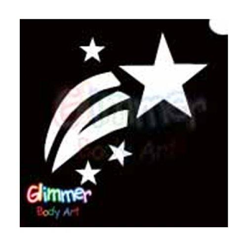 Glimmer Body Art Glitter Tattoo Stencils - Shooting Star (5/pack)