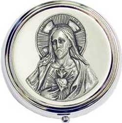 """Jesus"" Silver Concave Round Pill Box"