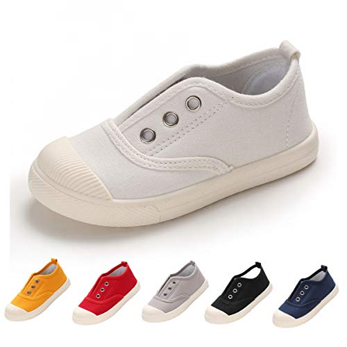Kids Shoes Toddlers Canvas Sneakers Slip-on Comfortable Light Weight Skin-Friendly Causal Running Tennis Shoes for Baby Boys Girls
