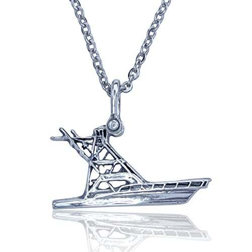 KeyLimeBay Offshore Sport Fishing Boat Pendant Crafted in Sterling Silver with a 22