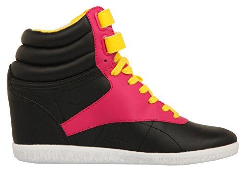 Reebok Freestyle Hi Wedge Ak Int, Sneaker donna Nero Blk/O Pink/Blz Yellow/Wht