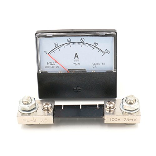 Baomain DH-670 DC 100A Analog Amp Panel Meter Current Ammeter with 75mV Shunt