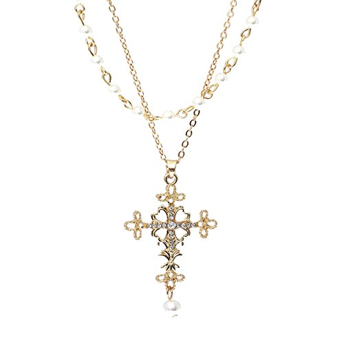 Rosemarie Collections Women's Double Layer Filigree Cross Pendant Necklace with Faux Pearls (Gold Tone)