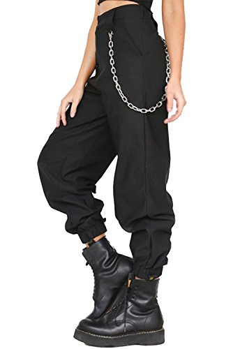 MNLYBABY High Waist Solid Harem Trousers Streetwear Punk Cargo Pants Capris for Women Size XL (Black) - Solid Baggy Pant