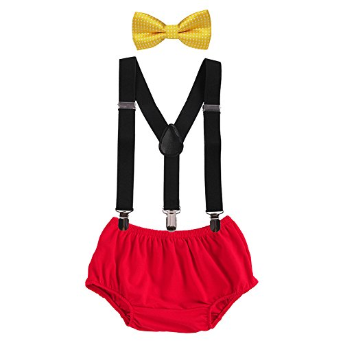 Baby Boys Adjustable Y Back Clip Suspenders Outfit First Birthday Bloomers Bowtie set Yellow + Black + Red]()