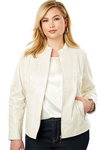 Jessica London Women's Plus Size Zip Front Leather Jacket - Ivory, 16 W