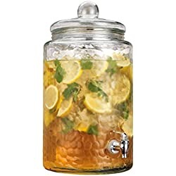 Home Essentials & Beyond Mason Jar Drink Beverage Dispenser With Easy Flow Spigot Clear For Iced Coffee, Tea, Lemonade, Water For Picnics Parties Bbq 3 Gallon Clear Glass