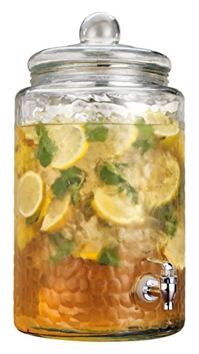 Home Essentials & Beyond  Mason Jar Drink Beverage Dispenser With Easy Flow Spigot Clear For Iced Coffee, Tea, Lemonade, Water For Picnics Parties Bbq  3 Gallon Clear Glass (Dispenser Tea Plastic)