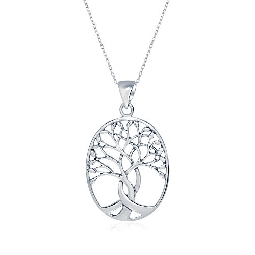 Sterling Silver Oval Open Cut Tree of Life Necklace Pendant, 25mm