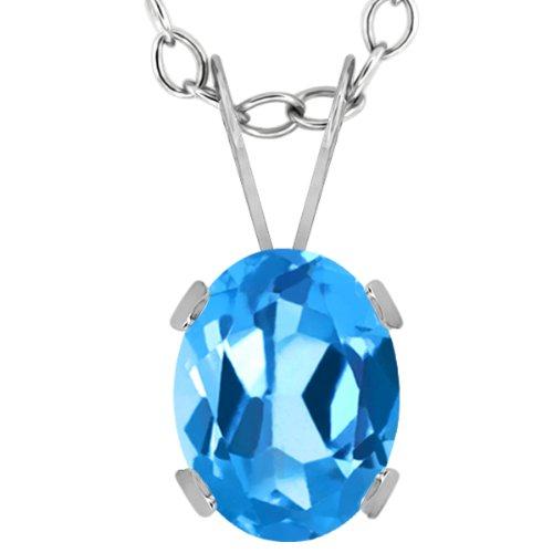 Gem Stone King 1.50 Ct Oval Swiss Blue Topaz 14K White Gold Pendant ()