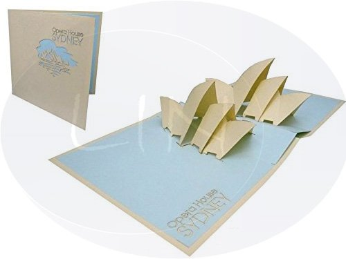 LIN Pop Up 3D Greeting Card for the Culturally Interested, Sidney Opera House Australia, large card (6 x 6 inches), - Gift Online Cards Australia