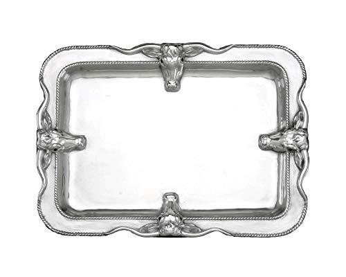 (Arthur Court Designs Aluminum Large Longhorn Platter 18