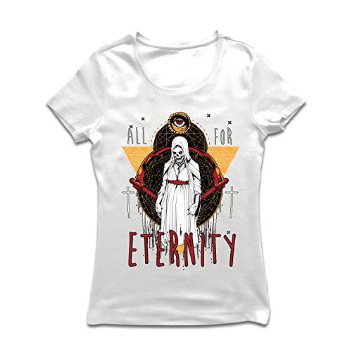 lepni.me Women's T-Shirt All for Eternity Skeleton Halloween Exorcist Skull (Large White Multi -