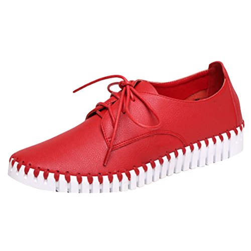 Vogstyle Damen Neue Flache Schuhe Casual Slipper Lace-up Rot