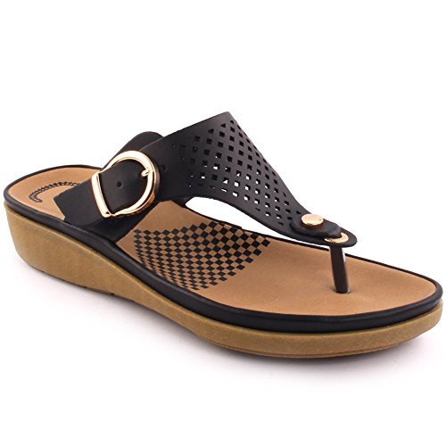 Unze New Women 'Terrence' Toe Post Verano Beach Party Reunirse School Carnival Zapatos planos casuales de deslizadores UK Tamaño 3-8 Negro