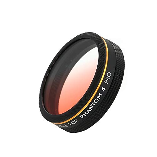 (Gradual Color Red Lens Filter for DJI Phantom 4 Pro Drone Camera CAM - Black&red)