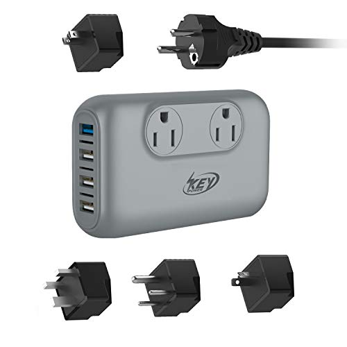 Key Power 220V to 110V Step Down Voltage Converter and International Travel Adapter - [Use for USA appliances Overseas in Europe, Australia, UK, Ireland, Mexico, Spain, Germany, India and More] ()