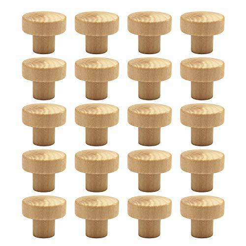 WEICHUAN 20PCS Round Unfinished Wood Cabinet Furniture Drawer Knobs Pulls Handles (Diameter: 3.6cm Height: - Round Knob Wood