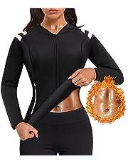 SCARBORO Hot Neoprene Sauna Waist Trainer Jacket Sweat Body Shaper Sauna Suits for Women Full Zip Sports Workout Jacket Top Long Sleeve