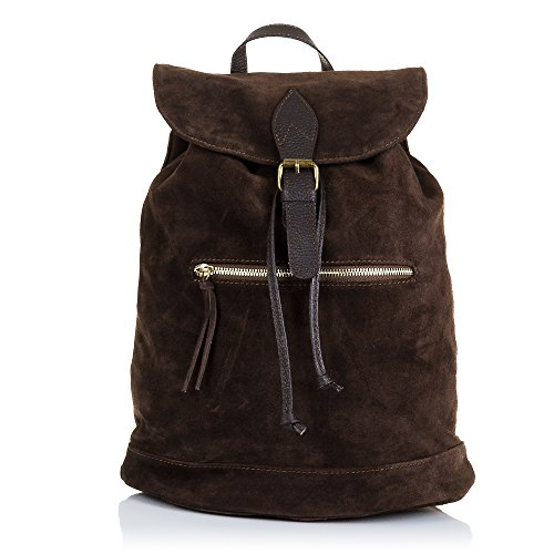 FIRENZE ARTEGIANI.Mochila de mujer casual piel auténtica.Bolso mochila cuero genuino,piel GAMIUZA,tacto suave.DAY PACK. MADE IN ITALY. VERA PELLE ITALIANA. 32x40x17 cm. Color: MARRON OSCURO