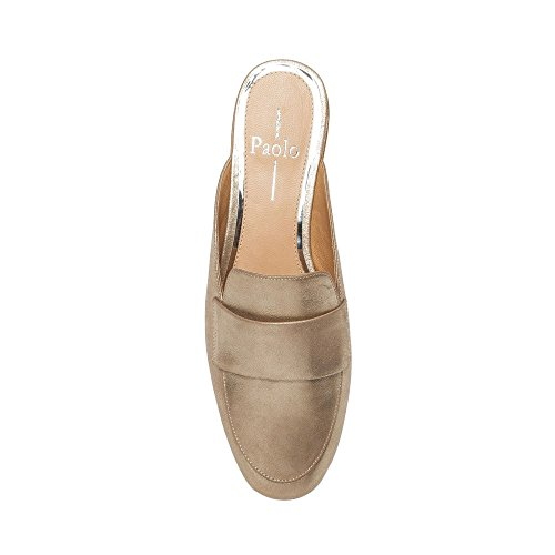 Linea Paolo Annie Womens Loafer - Open Back Slip-on Loafer Goud Metallic Suède