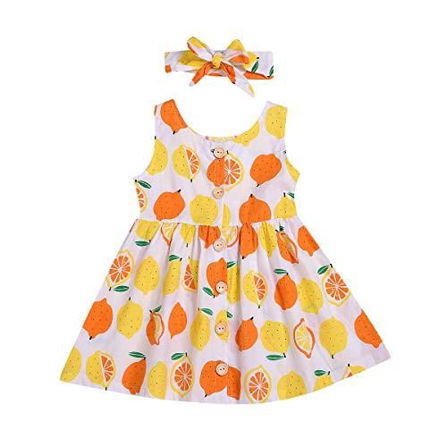YOUNGER TREE Toddler Baby Girls Dress Sleeveless Fruit Floral Print Sundress Spring Summer Princess Dresses Outfits (Lemon, 18-24 Months) ()