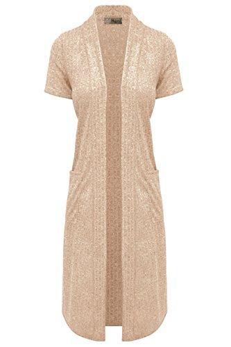 Hybrid & Company Womens Casual Sleeveless/Short Sleeve Open Front Drape Cardigan