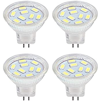 LED MR11 Light Bulbs 2W, 12V 20W Halogen Replacement, GU4 Bi-Pin Base, Daylight White 6000K (Pack of 4)