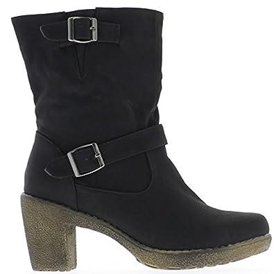 7 Quadrat ChaussMoi Schwarze Stiefel cm und Ferse 5 Damen vmgYfyIb76