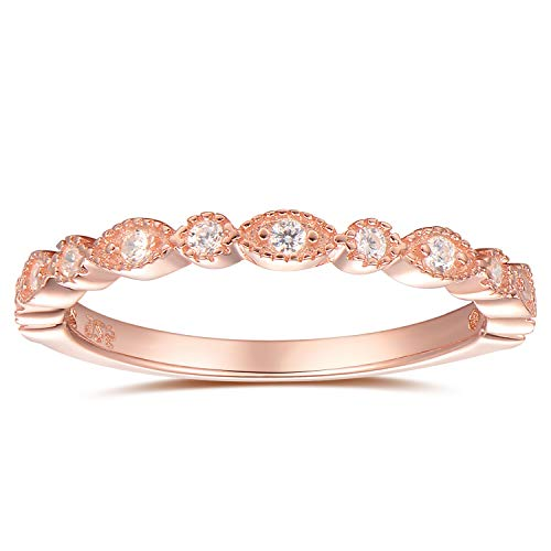espere Milgrain Marquise & Round Cubic Zirconia Eternity Ring Stacking Infinity Wedding Band Sterling Silver Platium Plated or Rose Gold Plated Size 4-9 (Rose-Gold-Plated-Base, -