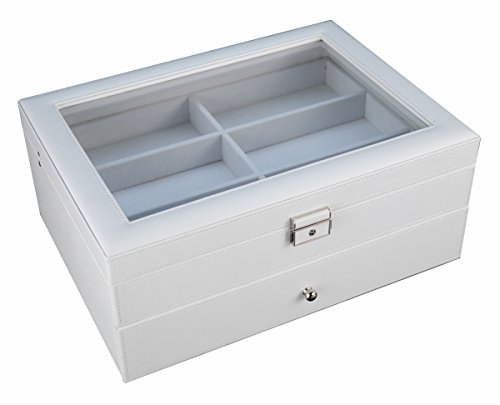 12 Piece Large White Leatherette Eyeglass Sunglass Two Level Glasses Display Case with Drawer Storage Box by TimelyBuys (Image #4)