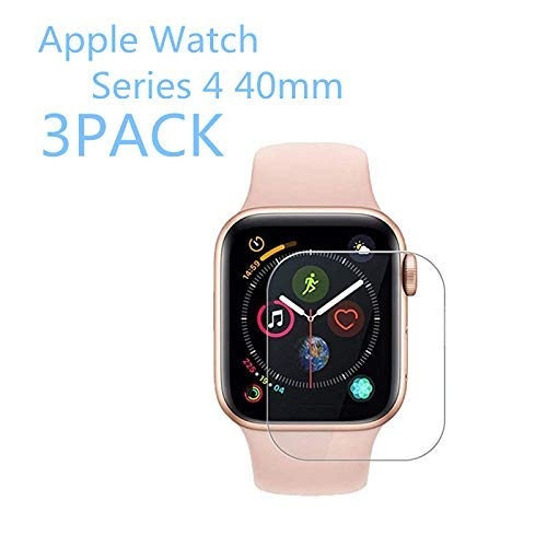 [3PACK] Apple Watch Series 4 40mm Tempered Glass Screen Protector, EcoPestuGo - 9H Hardness,Anti-Fingerprint,Anti-Scratch,Ultra-Clear,Bubble Free Screen Protector Compatible Apple Watch Series 4 40mm