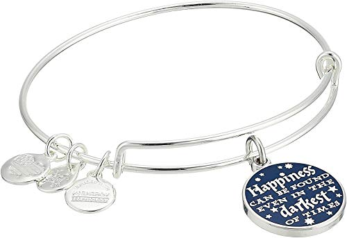 (Alex and Ani Women's Harry Potter Happiness Can Be Found Bangle Shiny Silver One)
