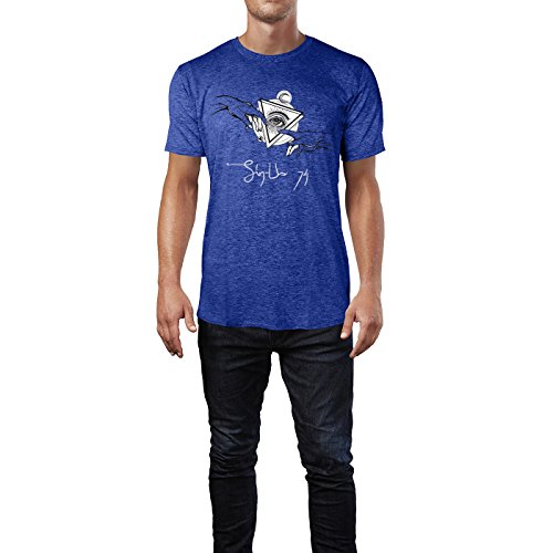 SINUS ART ® Hände mit dem allsehenden Auge Herren T-Shirts in Vintage Blau Cooles Fun Shirt mit tollen Aufdruck
