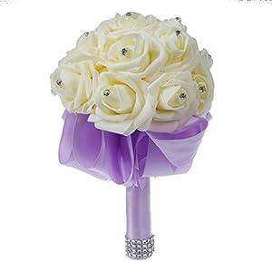 SODIAL(R) Beautiful Wedding Bouquet Bridal Bridesmaid Flower wedding bouquet artificial flower rose bouquet white bridal bouquets-Light Purple Ribbon 120