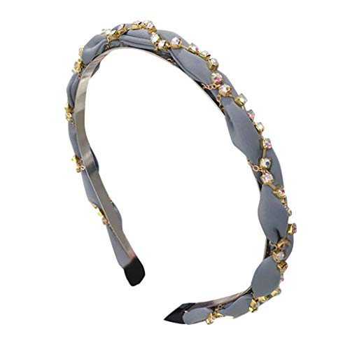 REDMAKER Ladies Hair Band Fashion Hand Woven Headband Crystal Headwrap Headdress