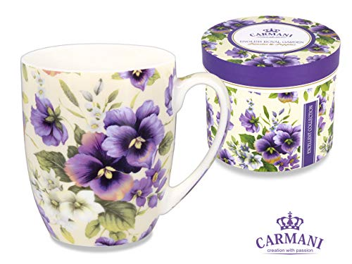 - Carmani CR-840-1001, 13 Oz Mug w/Floral Design, Porcelain Tea Cup with Pansies Painting, Enamel Cup in a Gift Box