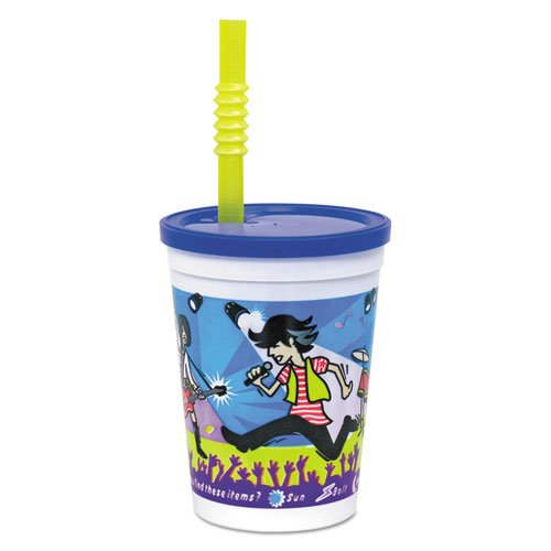 WNA Plastic Kids' Cups with Lids and Whistle Straws, 12 oz., Rock Star Design - 250 cups, 250 lids and 250 straws per case.