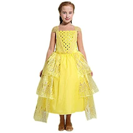 Disfraz de princesa Belle para niñas, vestido de fiesta de lujo para niñas, dorado