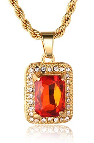 ALL Men's 18k Real Gold Plated Ruby Pendant Necklace 2 Chains Set with FREE Box Chain 30