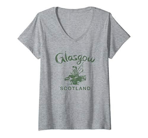 Womens Glasgow Scotland Scottish Bagpipes Vintage Gaelic  V-Neck T-Shirt