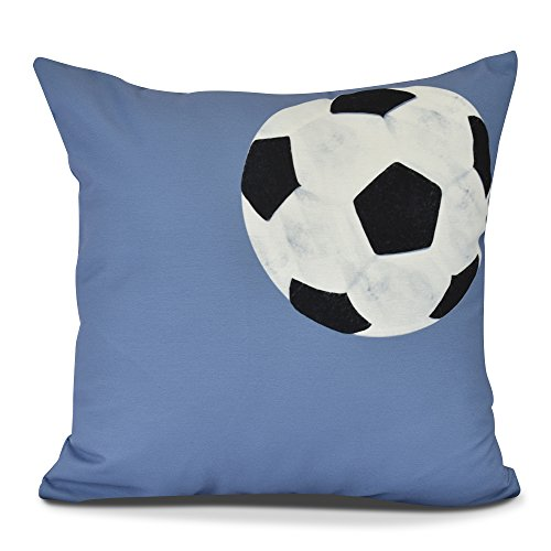E by design PG880BL15-26 Soccer Ball Decorative Geometric Throw Pillow, 26'', Blue by E by design