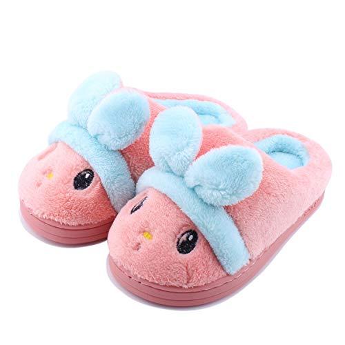 Kid Slippers Cute Rabbit Girls Boys Winter Warm Comfort Home Shoes,KTS01-pink-19 -
