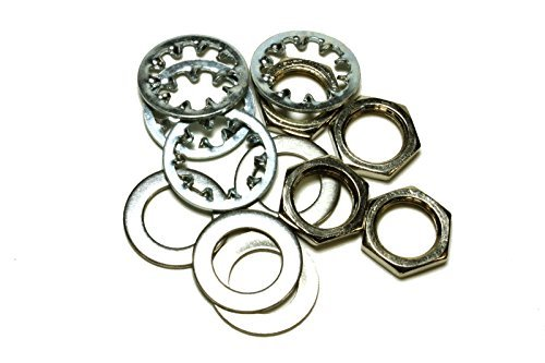 set of 4 Guitar nuts, washers & lock washers for US CTS Pots & Switchcraft Jacks, metal (ship from usa)